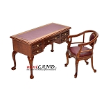 Captain's Desk + chair Quality office set Leather top 1:12 scale